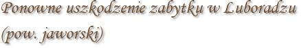 Ponowne uszkodzenie zabytku w Luboradzu (pow. jaworski)