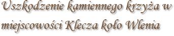 Uszkodzenie kamiennego krzyża w miejscowości Klecza koło Wlenia